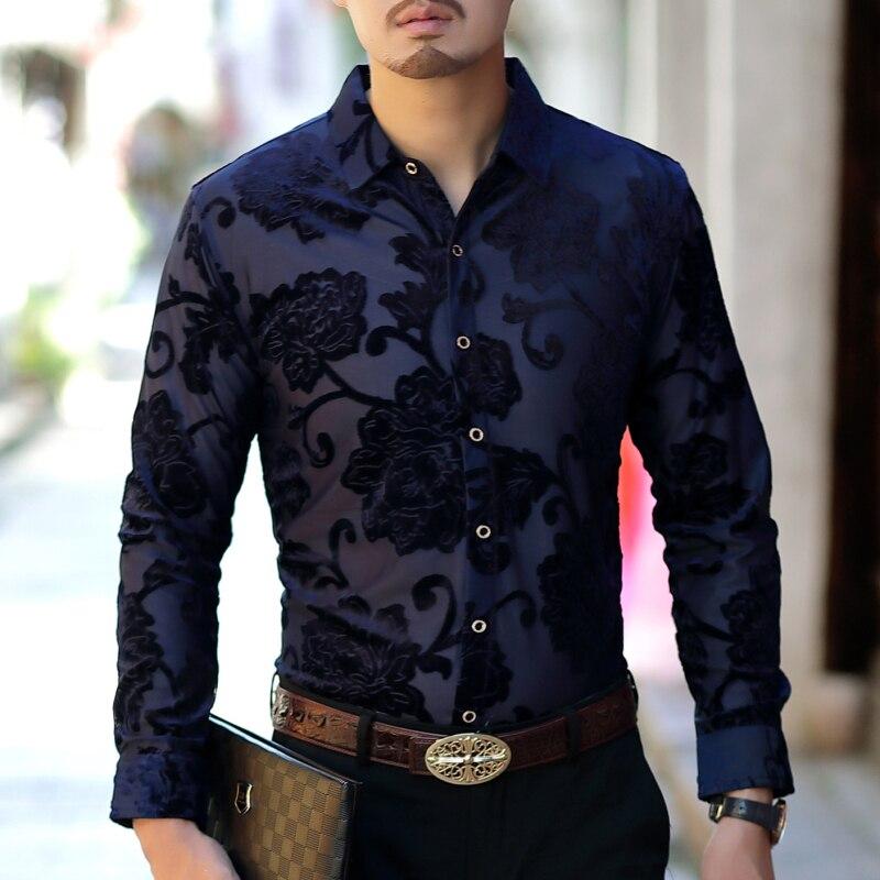 Rose Flower Shirt Men Transparent Shirt For Men Black Navy Fancy Fashion Designer Shirt Men Long Sleeve High Quality 2019 Slim