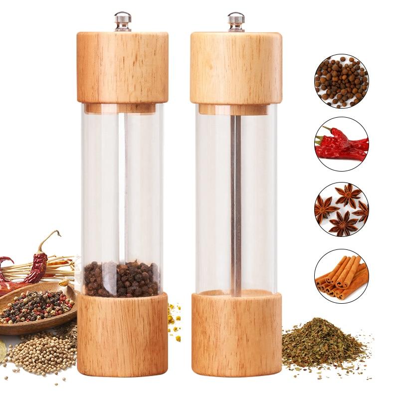 Manual Classic Rubber Wood Pepper Spice Mill Grinder Set Handheld Seasoning Mills Grinder Ceramic Grinding Core BBQ Tools Set