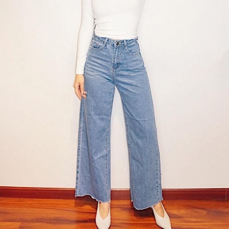 2019 Новая мода Женская одежда Ретро Высокая талия Свободные прямые Леггинсы шерстяные джинсовые широкие брюки женские