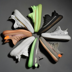High-Explosive Fly Woven Couples Coconut Shoes Attributive Color Students Breathable White Shoes Popcorn Soft-Sole Shoes 350v2 T