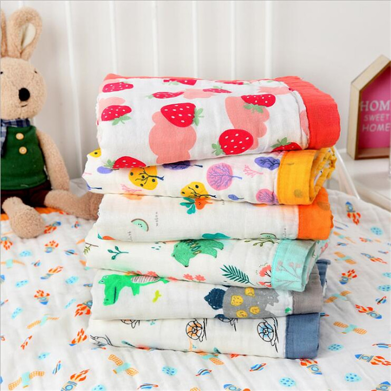 Adult Gauze Cotton Quilt Newborn Comforter Baby Six-layer Gauze Bedspread Muslin Blanket Soft Throw Plaid For Children Adults