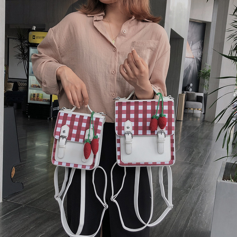 New Fashion Strawberry Decorative Contrast Crossbody Backpack For Women Korean Stitching Teen Backpack