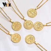 Vnox – pendentif pièces de monnaie Constellation 12, collier rond Horoscope du signe du zodiaque, bijoux minimaliste en métal à la mode pour femmes et hommes