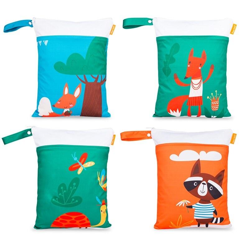 HappyFlute Digital Print 30*40CM Wetbag 2pocket With Handle Reusable Waterproof Cartoon Prints Wet Dry Diaper Bag