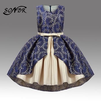 2017 flower girls dresses for wedding high low o neck ball gown sleeveless lace beads ribbon spring pageant kids communion dress Flower Girls Dresses HT042 Elegant Embroidery Navy Blue Kids Communion Dress High Low Length Flower Girl Pageant Ball Gown