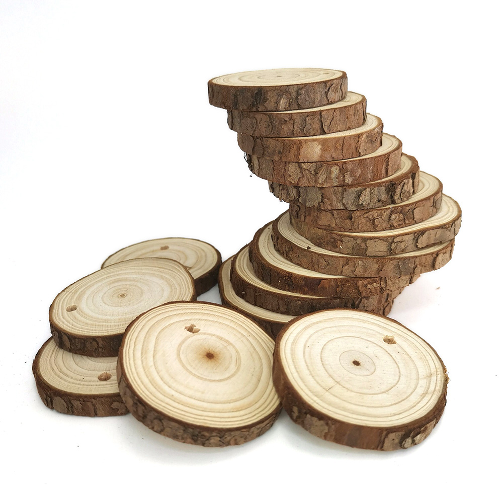 Small Natural Wood Slices 10Pcs With Holes For Crafts Ornaments Predrilled DIY Round Discs Ornaments Tree Bark Wooden Circles