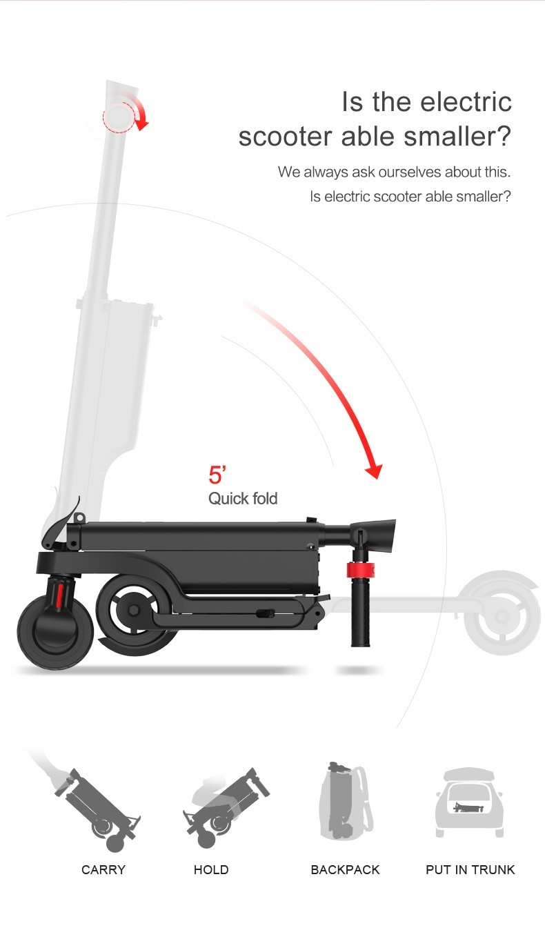 HX kick scooter smallest packing size save the shipping cost Bagpack Adult folding scooter Portable Folding Electric Scooter 4