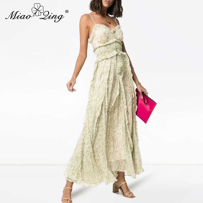 MIAOQING платье без рукавов с принтом для женщин с высокой талией воланами и длиной до щиколотки платья для женщин летом 2019 богемные