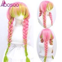 AOOSOO Demon Slayer Kanroji Mitsuri, парики для косплея, Kimetsu no Yaiba, Длинные розовые Разноцветные зеленые косы, парик для косплея, синтетические волосы