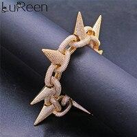 Lureen hiphop Men Gold Silver Cuban Chain bracelet & Rivet bracelet Jewelry Accessories party Gift