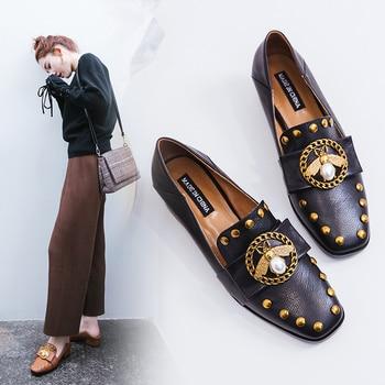 цены Genuine Leather Square heel Casual  luxury shoes women designers pumps women shoes sexy black heels ladies Retro low