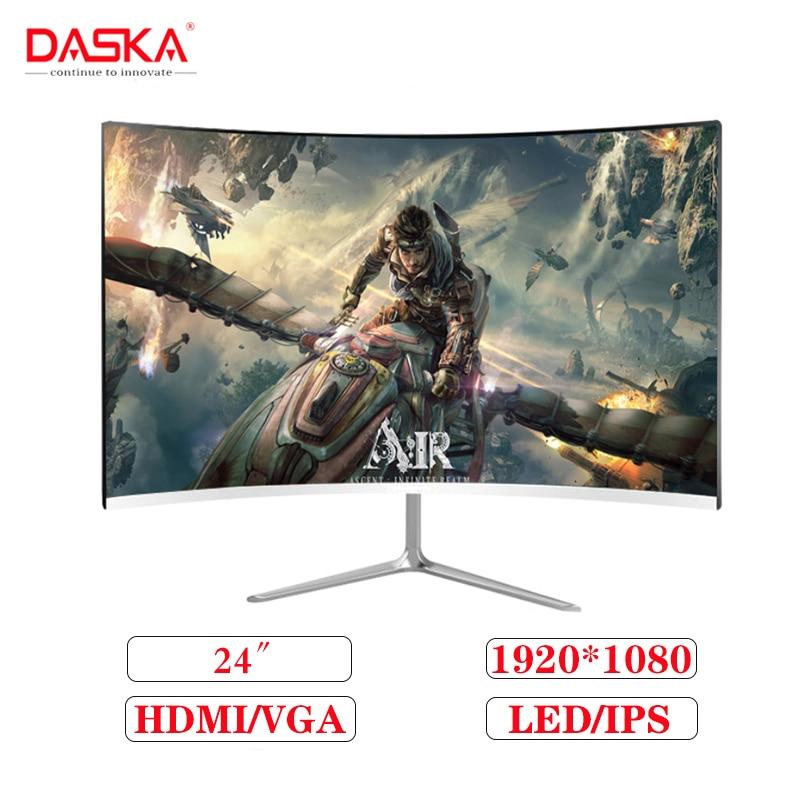 24-дюймовый IPS ЖК-монитор DASKA HD 1080P, светодиодный Компьютерный дисплей, изогнутый широкоформатный дисплей 16: 9 VGA / HDMI