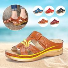 Buty kobieta letnie klapki dla kobiet buty wygodne miękkie damskie sandały Retro klinowe buty na niskim obcasie grube dno sandały damskie tanie tanio HAJINK Gladiator Mieszkanie z Otwarta RUBBER Niska (1 cm-3 cm) 0-3 cm Na co dzień Slip-on Pasuje prawda na wymiar weź swój normalny rozmiar