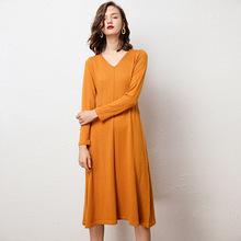 Sparsil Women Wool Knitted Cashmere Dress Long Sleeve V Neck A Line Sweater Dresses Winter Autumn Solid Female Mid-Calf Dress