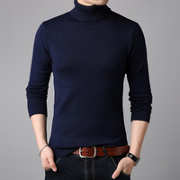 2019 зима Высокая шея Толстая Теплая мужская водолазка мужские s свитера Slim Fit пуловер мужской трикотаж мужской двойной воротник S-3XL