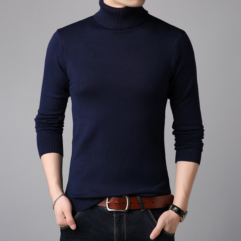 2019 Winter High Neck Thick Warm Sweater Men Turtleneck Mens Sweaters Slim Fit Pullover Men Knitwear Male Double collar S-3XL(China)