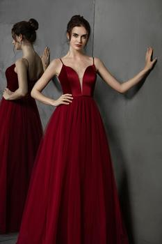 Simple Long Prom Dresses 2019 Deep V-Neck A-Line Formal Party Gowns Burgundy Evening Dress vestidos largos de robe de soiree 5