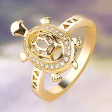 Exquisite Cute Gold Tortoise Zircon Rings for Women Dainty Gold Crystal Rings Punk Hip Hop Animal Rings Lover's Jewelry Gifts