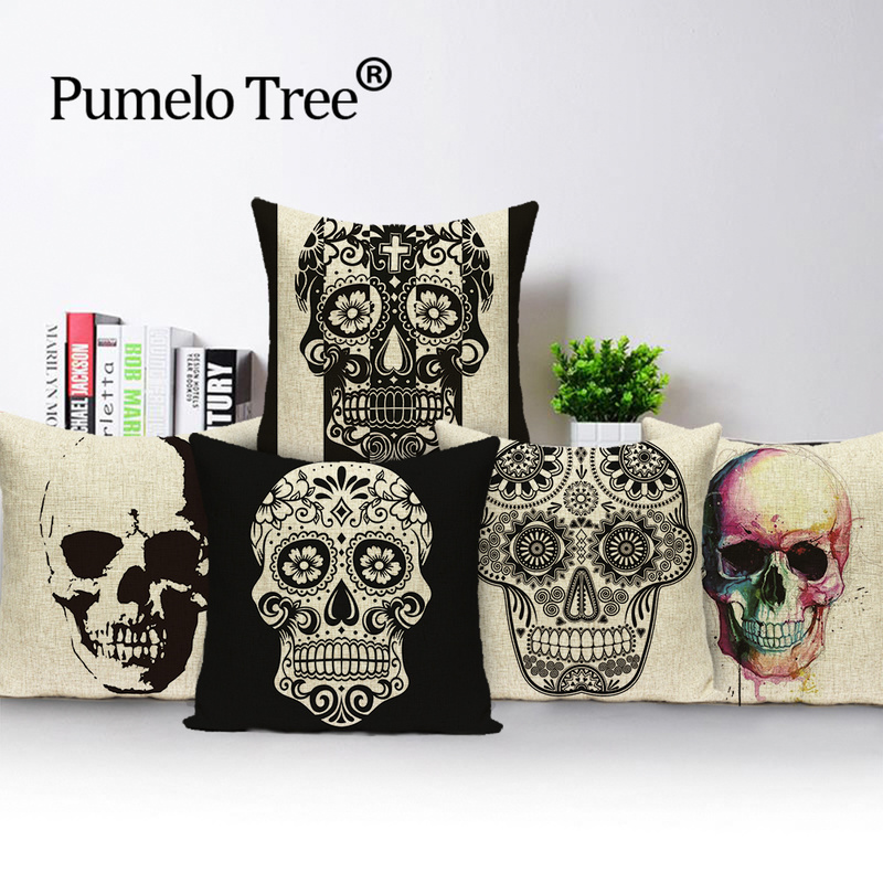 Federe Cuscini Divano.Mexico Skull Cushion Cover Horror Skull Head Decorative Pillow