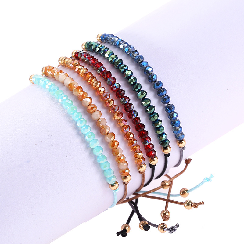 Bohemian Handwoven Colorful Weave Tinny Round Beaded Bracelet Retro Rice Adjustable Rope Ethnic Bangles Wholesale