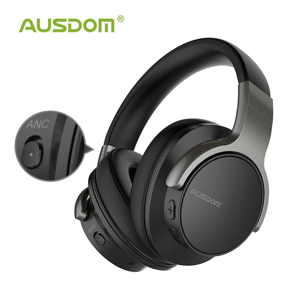 Ausdom ANC8 Active Noise Cancelling Fones de Ouvido Sem Fio fone de Ouvido Bluetooth com Super Graves Profundos HiFi 20H Playtime para Viagens de Trabalho