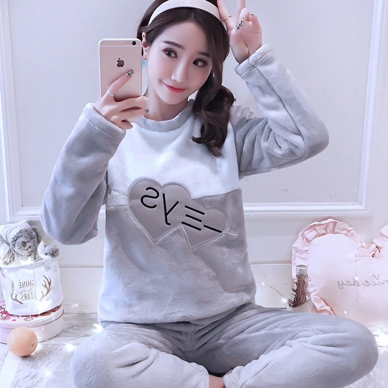 Women pajamas set Women Pyjamas Thick Flannel Cute Sheep Female Warm Winter Pajama Set Long Sleeve Full Trousers Two Piece 2019 49