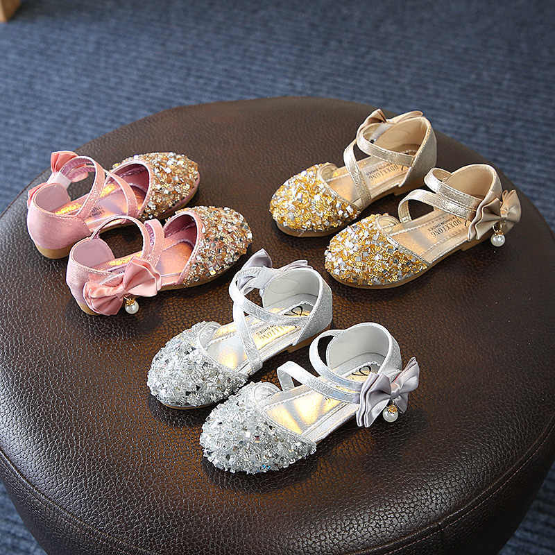 Summer Children Shoes Girl Sequins Princess Sandals Rhinestone Pearl Bow Soft-Soled Flat Heels Glitter Kids Shoes