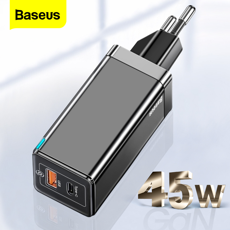 Baseus GaN 45W USB Charger For iPhone Samsung Xiaomi Mobile Phone Quick Charge 4.0 3.0 QC SCP Fast Charger PD USB Type C Charger