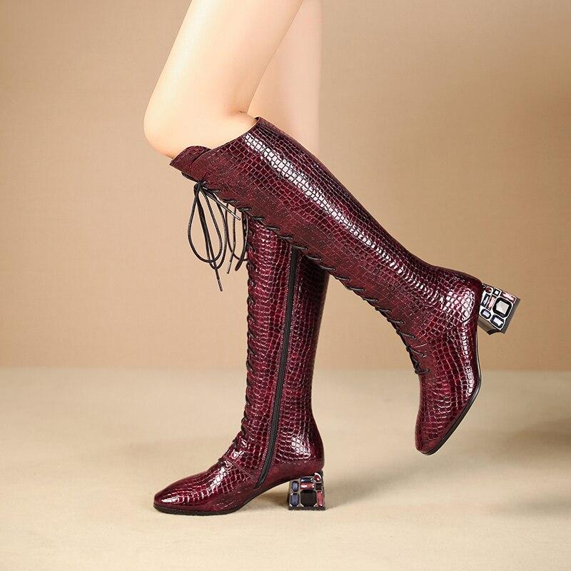 Intention originale nouveau Design pierre Grain cristal talons carrés Sexy genou bottes hautes femme noir vin rouge croix liée mode chaussure - 6