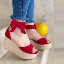 2021 novos sapatos femininos de verão moda casual cor sólida imitação camurça arco boca peixe salto alto sandálias plataforma 7kg072