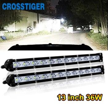 13 Inch Single Row Offroad LED Light Bar 36W LED Work Light Bar Beam Daytime Running Light for Jeep Car ATV SUV Fog Driving Lamp