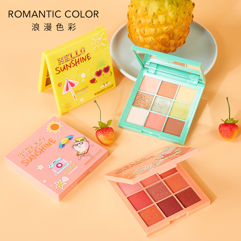 9-Color Fruit Eyeshadow Compact Fruit Color Peach Lasting Not Easy To Fly Pink Youth Girl's Eye Shadow