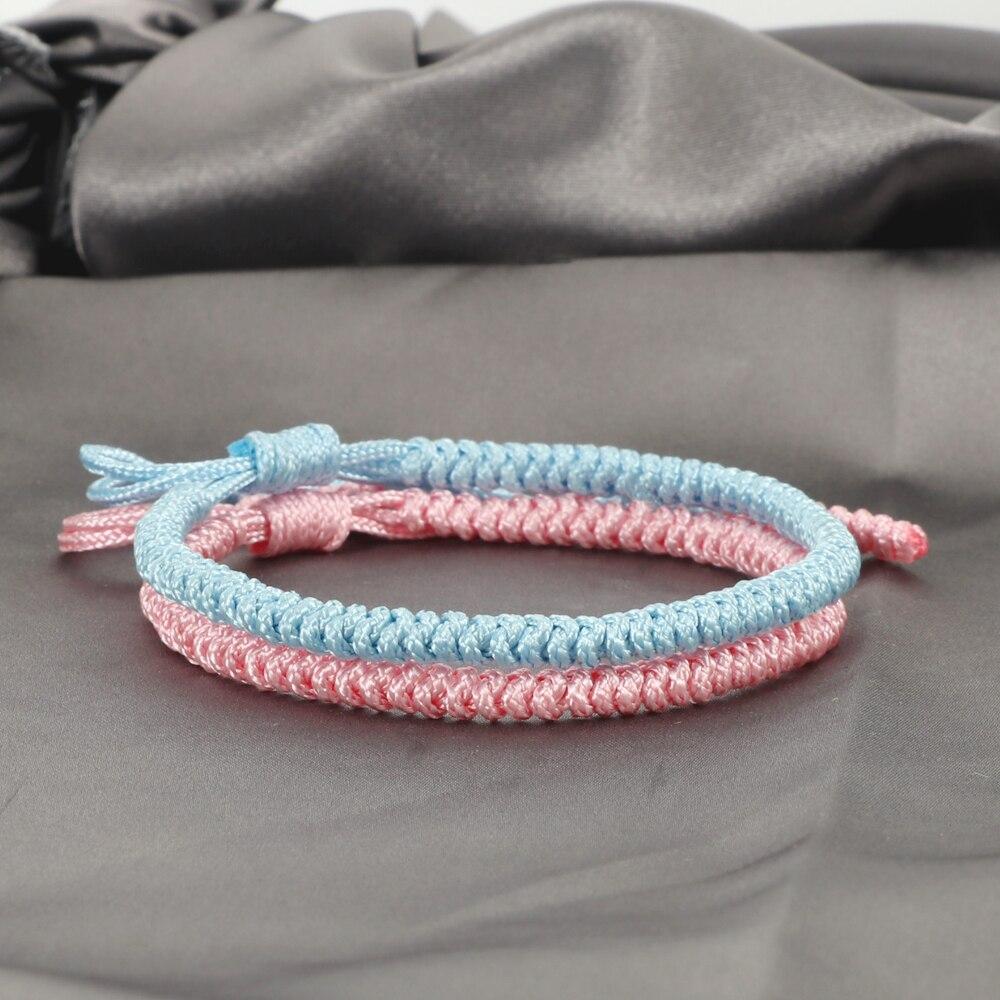 2pcs Multicolor Tibetan Buddhist Bracelets Good Lucky Charm Braided Bracelet & Bangle For Women Men Handmade Knots Rope Jewelry