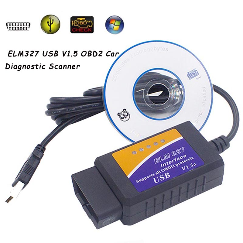 <font><b>ELM</b></font> <font><b>327</b></font> <font><b>V1.5</b></font> OBD 2 ELM327 USB Interface CAN-BUS Scanner Diagnostic Tool Cable Code Support OBD-II Protocols image