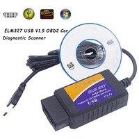 ELM 327 V1.5 OBD 2 ELM327 USB 인터페이스 CAN-BUS 스캐너 진단 도구 케이블 코드 지원 OBD-II 프로토콜