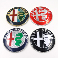 2pcs 74mm Car styling Specials Color for ALFA ROMEO red cross Logo emblem Badge stickers for Giulietta Spider Mito 147 156 159