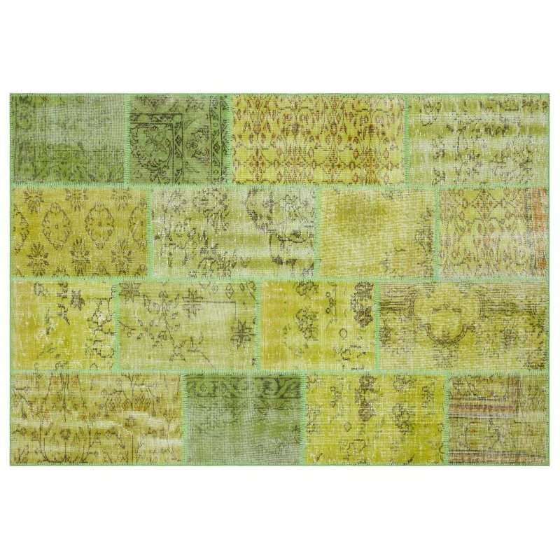 Handmade Green Vintage Overdyed Patchwork Area Rug 160x230 Cm-5'3''X7'7''