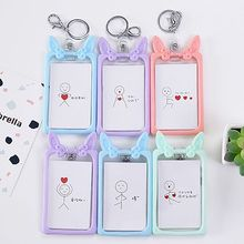Cute Cartoon Bank ID Card Holder Transparent Card Cover Case Student Business Credit Card Holders Badge Holders Bag Wallet Gift card case credit card holder student cute cartoon id cards women wallet passport business card holder book protector 2018 gift