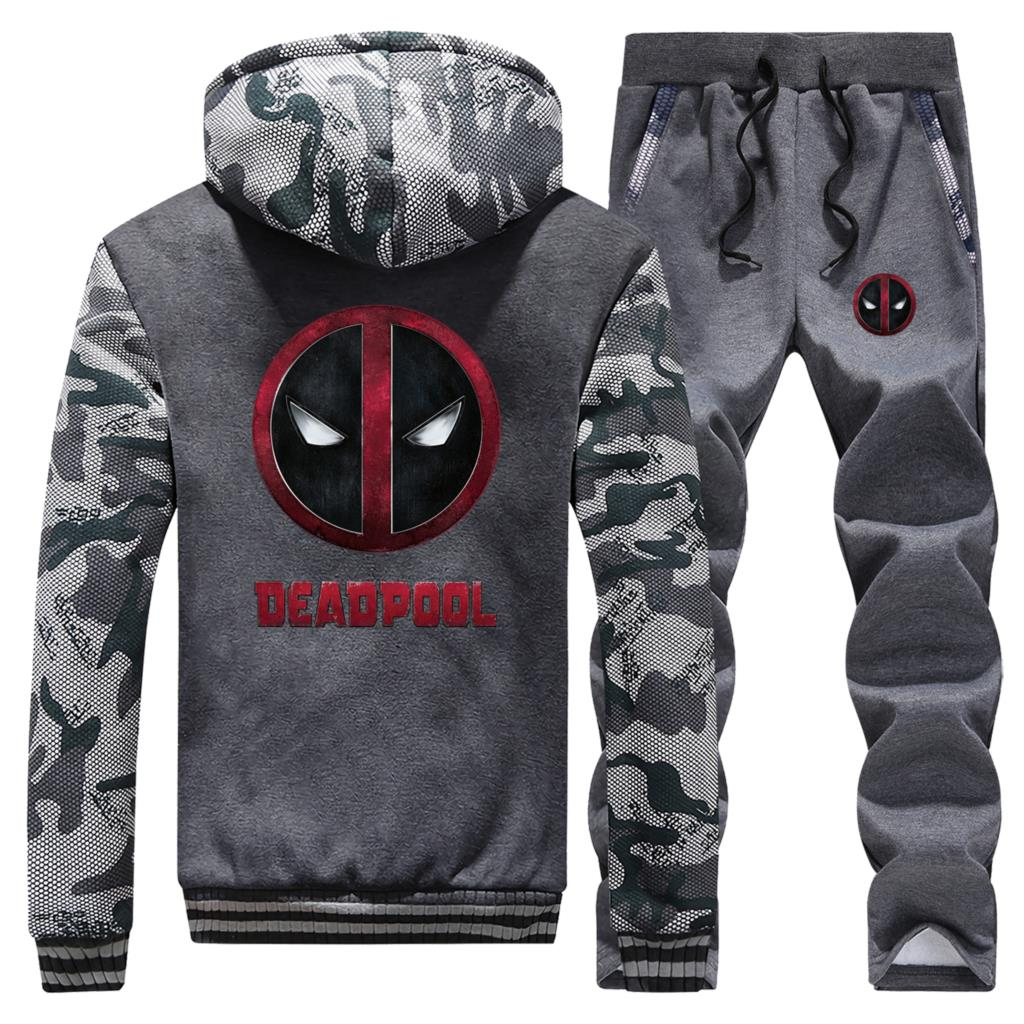 Funny Deadpool Men Warm Thick Suit Hoodies Sweatshirt Jacket+Pants Mens 2 Pieces Sets Tracksuit Fashion Brand Streetwear Sets
