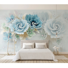 Customize Photo Wall Papers Home Decor Rural Style 3D Stereo Jewelry Blue Flower Living Room Sofa TV Background Art Wall Murals