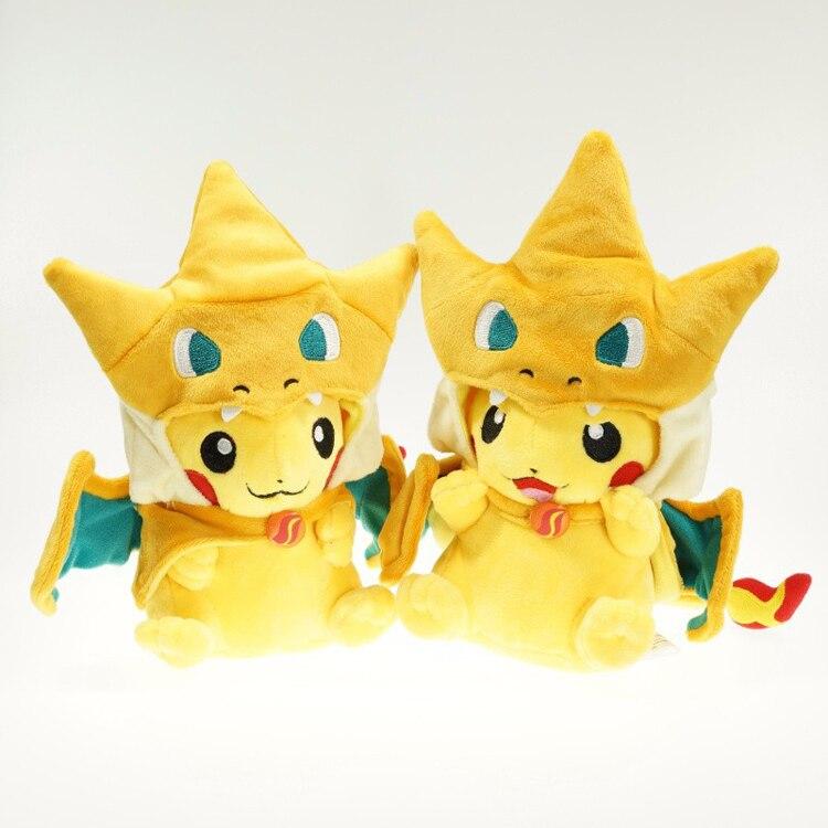 23cm Pikachu Cosplay Mega Charizard Plush Toys Cute Cartoon Plush Soft Stuffed Animals Toys Gifts For Kids
