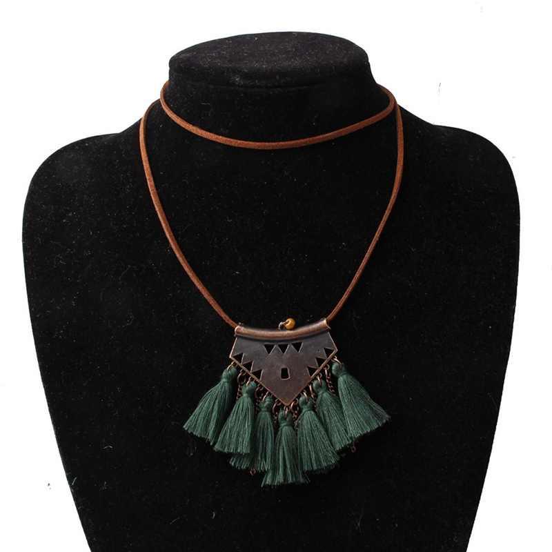 COLLAR COLGANTE con borlas de lana de geometría Bohemia 9 colores rosa étnico suéter cadena con flecos collar de joyería