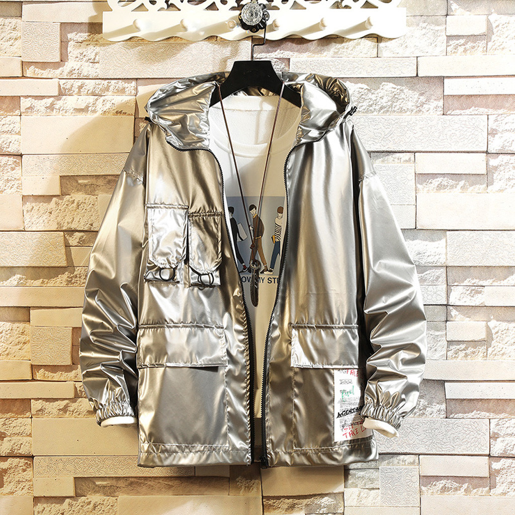 Men Coat Jacket Men 2019 New Silver Zipper Pockets Hooded japanese streetwear Harajuku Men Jacket Mens Jackets And Coats Clothes