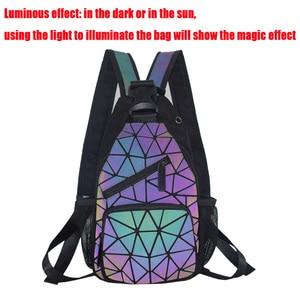 Image 3 - 2021 männer Multifunktionale Rucksack Frauen Geometrische Rucksack Mit Kopfhörer Loch Schule Tasche Unisex Leucht Crossbody Schulter Tasche