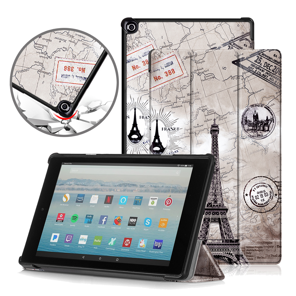 Slim <font><b>Case</b></font> for <font><b>Amazon</b></font> Fire HD <font><b>10</b></font> 2017 <font><b>2019</b></font> Tablet PU Leather Folding Stand Cover for Fire HD <font><b>10</b></font> <font><b>Case</b></font> image