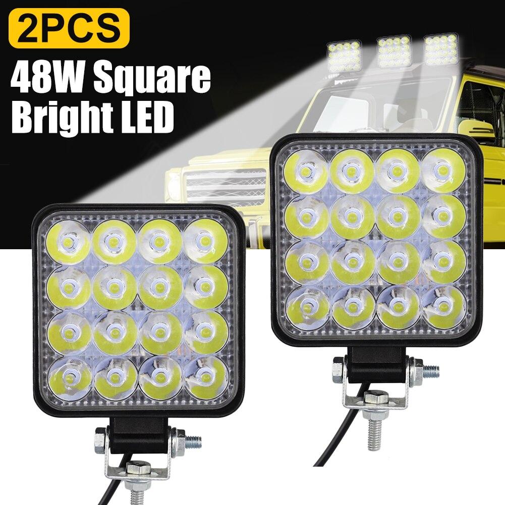 SUHU 2Pcs 48W Square Bright LED Spotlight Work Light Car SUV Truck Driving Fog Lamp for Car Repairing Camping Hiking Backpacking
