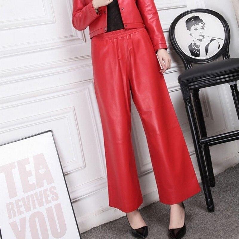 Hot 2020 Red Black Leather Pants Female 100% Sheepskin Trousers Office Lady Loose High Waist Wide Leg Pants Women Large Size 4XL
