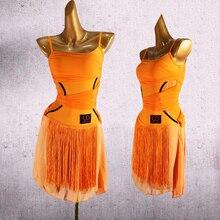 Новое платье для латинских танцев черное платье с бахромой платье для латиноамериканских танцев/ча/Румба/Самба одежда для выступлений латинское платье для тренировок DQS1572