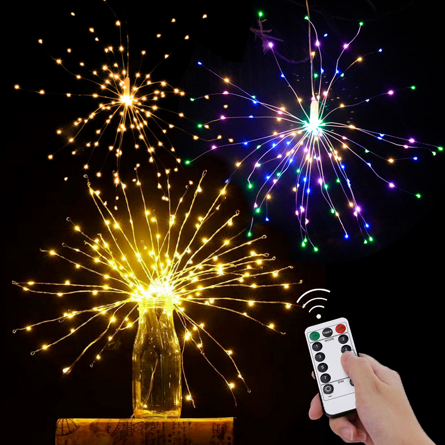 Starburst String Lights Remote Control Hanging Light 100-200leds DIY Firework Copper Fairy Garland Outdoor Christmas Decoration