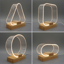 Wooden Acrylic Creativity Night Light Bedroom Bedside Table Lamp Nordic G Simple Personality Touch Sleep Light  table lamps